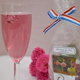 Boutons de rose cristallisés